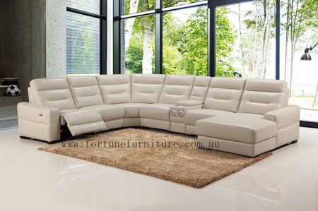 Cronulla 9355 u shape italian leather lounge