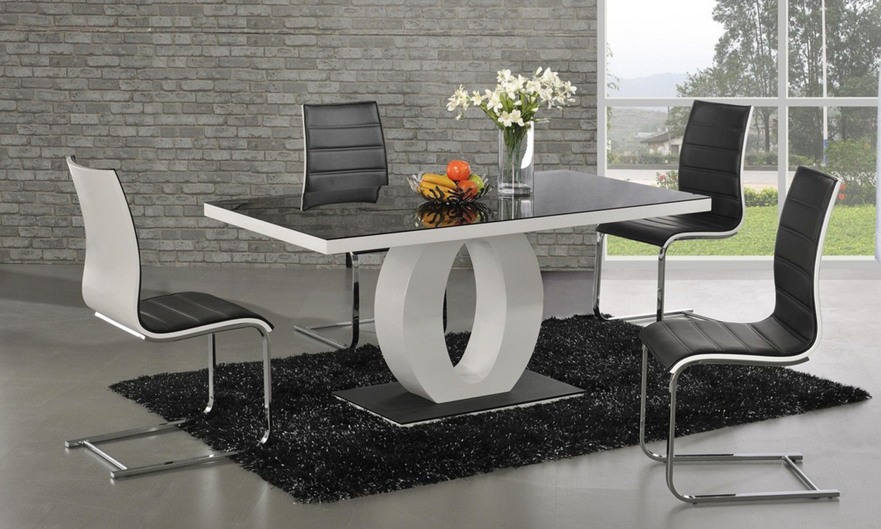 Dt 839 dining table fortune furniture - Designer glass dining tables ...