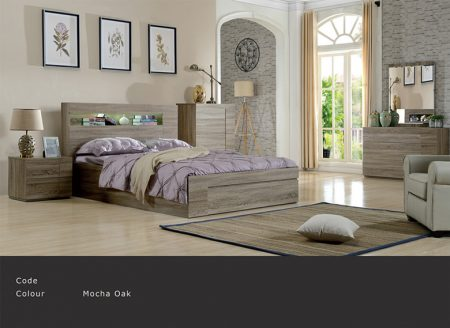Side open gaslift & Big  bended draw with bedside , tallboy and dresser   Colour: Mocha oak    Sizes:  King Queen Double  King Single