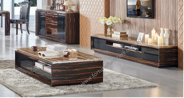 Vena Deluxe Tv Unit Amp Coffee Table In Marble Fortune
