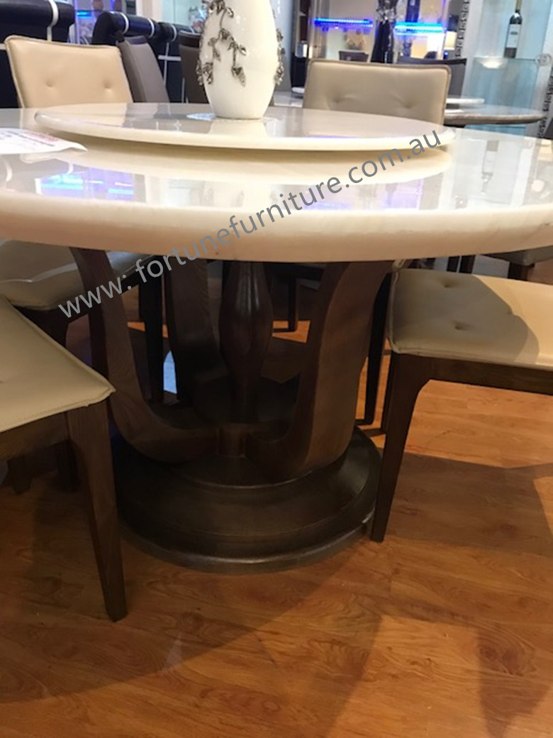 Selma Round Natural Onyx Dining Table Fortune Furniture