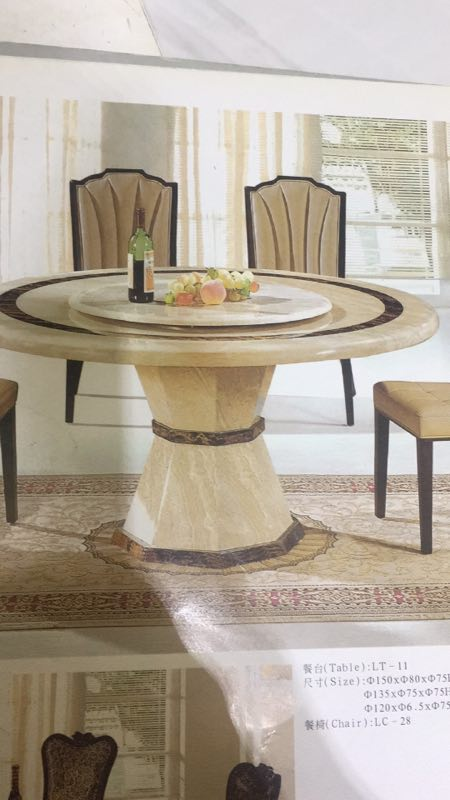 Melisa Round Marble Dining Table With Lazy Susan Fortune